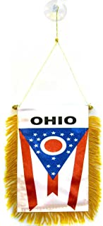 ALBATROS State of Ohio Mini Flag 4 inch x 6 inch Window Banner with Suction Cup for Home and Parades, Official Party, All Weather Indoors Outdoors