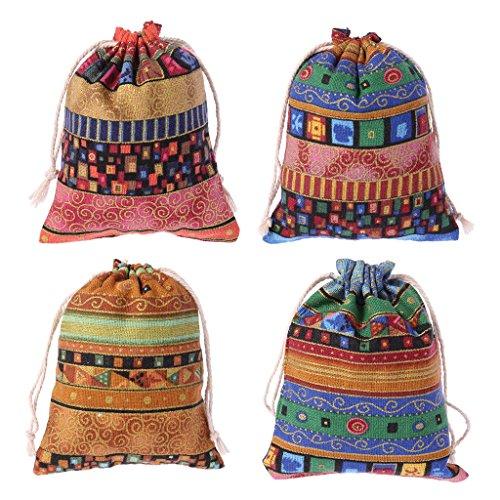 Cuigu 4-teiliges Set mit Kordel, ägyptischer Stil, Schmuck, Tasche, Baumwoll-Leinen, Süßigkeiten, Geschenke, Hochzeit, zufällige Farbauswahl