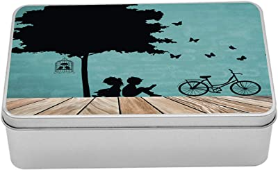 """Ambesonne Nature Metal Box, Boy and Girl Reading Under Tree a Bird Cage Bicycle, Multi-Purpose Rectangular Tin Box Container with Lid, 7.2"""" X 4.7"""" X 2.2"""", Pale Brown Seafoam Black"""