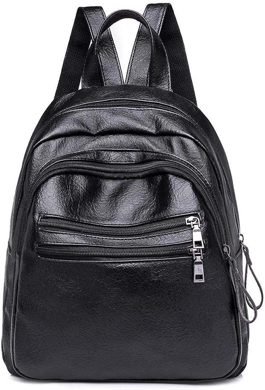 Sxuefang Women Leather Backpack Pu Leather Schoolgirl Backpack College Wind Soft Face Shoulder Bag 30x13x25cm