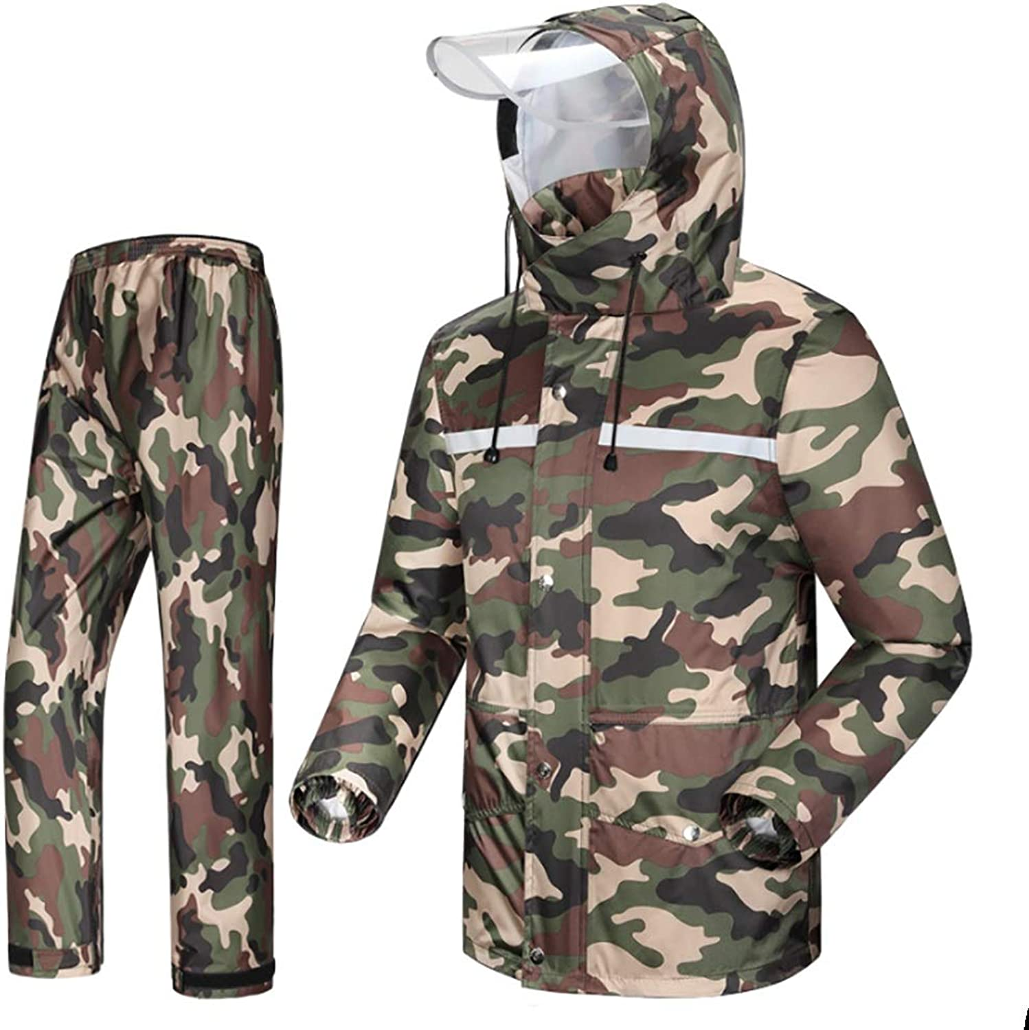 Raincoat Trouser Split Suit Camo Adult Waterproof Bicycle Motorcycle Riding Work Camping Fishing (Size   XXXXL)