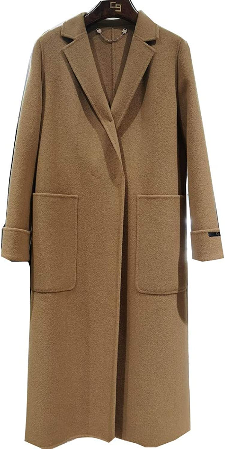 CG Women's Double Breasted Wool Coat Long Button Closure Jacket Overcoat Plus Size 890G120