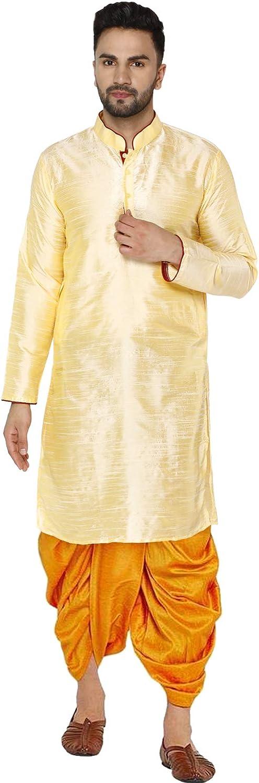 SKAVIJ Men's Art Silk Dhoti Kurta Set Festival and Party Dress