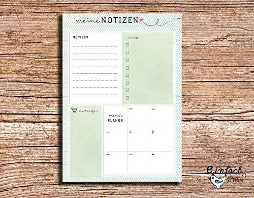 meine Notizen - Notizblock A5 grün to do - Wochenplaner - Einkaufsliste - Menü Planer