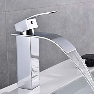 Chrome Bathroom Faucet Waterfall Single Handle Single Hole Bathroom Sink Faucet, Washbasin Faucet with Deck