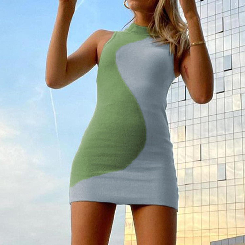Floral Printed Bodycon Mini Tank Dress Sleeveless Racerback Slim Short Dress Y2k Streetwear