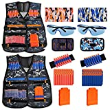 Kids Tactical Vest Kit 2-Pack for Nerf Guns N-Strike Elite Series Gun Wars with 100 Pcs Refill Darts, 2 Reload Clip, 2 Dart Pouch, 2 Tube Mask, 2 Wrist Band and 2 Protective Glass, Suit for Boys Girls