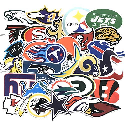 32pcs Football NFL Team Stickers Creative DIY Stickers Funny Decorative Cartoon for Cartoon PC Luggage Computer Notebook Phone Home Wall Garden Window Snowboard