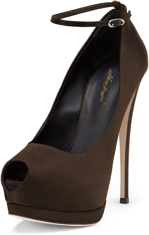 NJ Women Sexy High Heels Pumps Peep Toe Platform Stilettos Ankle Straps Dress Sandals