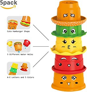 HAOXIN Nesting & Stacking Cups,Baby Early Educational Bathroom Stacker Toys with ABC Letters and Facial Expression for Kid...