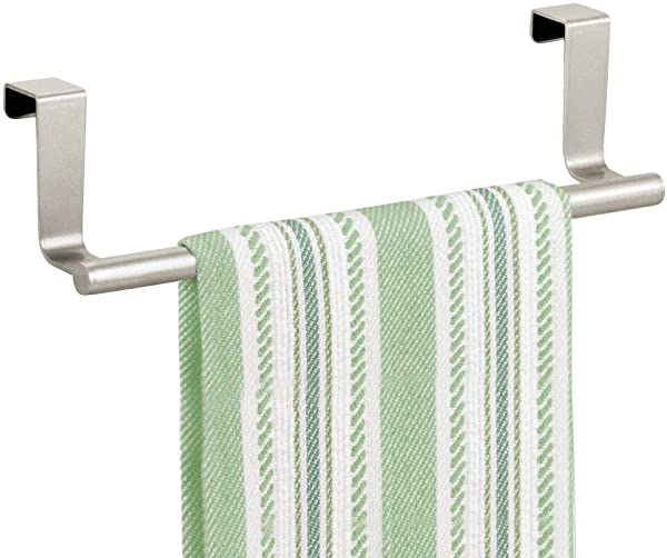 MDesign Decorative Metal Kitchen Over Cabinet Towel Bar Hang On Inside Or Outside Of Doors Storage And Display Rack For Hand Dish And Tea Towels Satin
