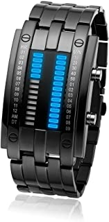 BROJET Man's LED Digital Creative Waterproof Watches Black Plated Cool Binary Wrist Watch Blue/Color
