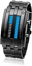 BROJET Man's LED Digital Creative Waterproof Watches Black Plated Cool Binary Wrist Watch Blue/Color