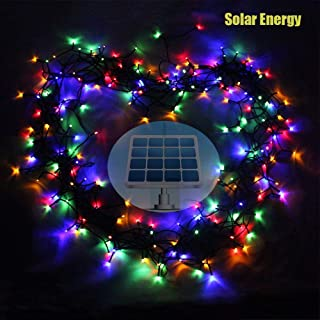 Autbye LED String Light Newest Design 200 LED Solar & AA Dry Battery 2 Ways-Powered Starry Lighting 72ft 22m 200 LED 8 Modes Multi Color Christmas Waterproof Fairy String Lights