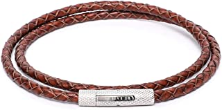 BeBajrang Round Braided Mens Leather Bracelet Matte Finish Linked Stainless Steel Locks, Mens Braided Wrapping Bracelets Leather
