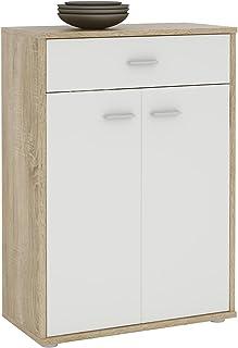 IDIMEX Buffet Calais, Commode Meuble de Rangement avec 1 tiroir et 2 Portes, en mélaminé décor chêne Sonoma et Blanc Mat