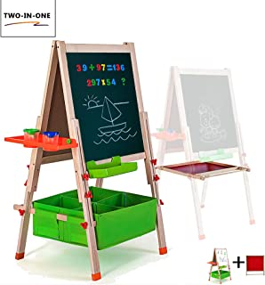 Gimilife Deluxe Easel for Kids, Folding Wooden Art Easel with Chalkboard, Whiteboard, and Storage Bins or Tray, Standing Easel with Magnetic Letters for Early Education (Wood, Fit for 2-12 Years Old)