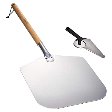 Befano Detachable Metal Pizza Peel 12 x14 Inch Aluminum Pizza Paddle with Pizza Cutter for Grill Oven