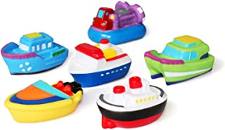 JUNSHEN Bathtub Floating Bath Toys(6PCS) with Storage Net,Baby Soft Bath Time Boat Toys,Bathtub Learning Water Toys and Sq...