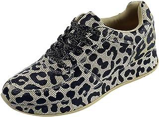 2771d43d7972c WOZOW Chaussures De Sport pour Femmes à La Mode Sauvage Imprimées Léopard  Augmentées Running Sports Respirante