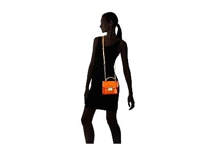 LAUREN Ralph Lauren Heritage Lock Mini Croc Embossed Beckett 19 Satchel Small (Sailing Orange) Handbags