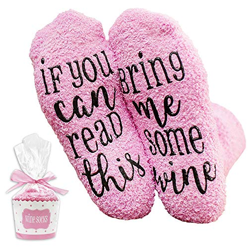 Letter Print Socks Funny Casual Socks Mid Calf Socks Cotton Socks Non Clip Gift If You Can Read This Bring Me Coffee/Wine For Women Girl (Pink-Wine)
