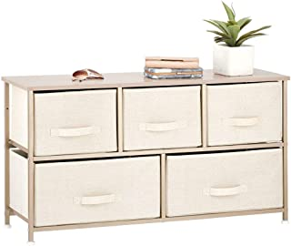 mDesign Extra Wide Dresser Storage Tower - Sturdy Steel Frame, Wood Top, Easy Pull Fabric Bins - Organizer Unit for Bedroom, Hallway, Entryway, Closets - Textured Print - 5 Drawers - Cream/Gold