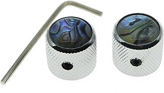 KAISH Set of 2 Chrome Tele Telecaster Abalone Top Guitar Dome Knobs Bass Knob with Set Screw