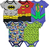 DC Comics Body de Superhéroes - Batman, Robin, el Joker y Riddler para Bebé-Niños (Pack de 5),...