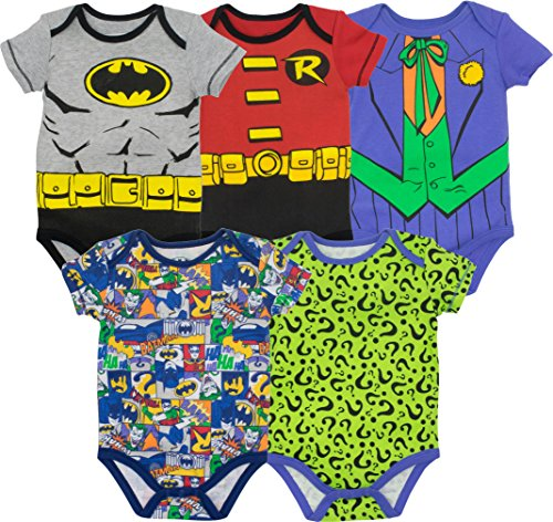 DC Comics Body de Superhéroes - Batman, Robin, el Joker y Riddler para Bebé-Niños (Pack de 5), Multi 6-9 Meses