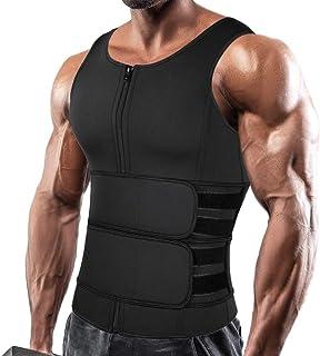 Men Neoprene Sauna Zipper Waist Trainer Vest Tank Top Trimmer Body Shaper with Two Belt