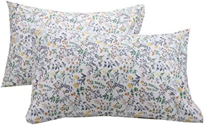WBYCOTBED White Botanical Cotton Pillowcase Set of 2, Soft Queen Size Pillow Cover with Envelop Closure, 20 x 30 inches