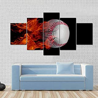 ZFKOB 5 pieces canvas home art decoration painting Pictures HD Art 5 PiecesSet Baseball Catching Fire And Burning Canvas P...