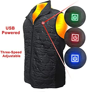 cheerfullus Washable Electric Heated Vest for Men Women,3 Level Adjustable Temperature,USB Charging Electric Warm Vest for Winter Outdoor Hiking Camping