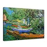 Wandbild Vincent Van Gogh Boote am Ufer der Oise - 40x30cm quer - Alte Meister Berühmte Gemälde Leinwandbild Kunstdruck Bild auf Leinwand