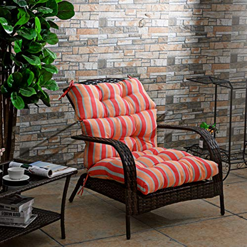Giantex Tufted Outdoor Patio Chair Cushion 5', High Back Chair Cushion with 4 String Ties, Patio Seat Cushion for Swing Bench Wicker Seat Chair (Red and Orange)