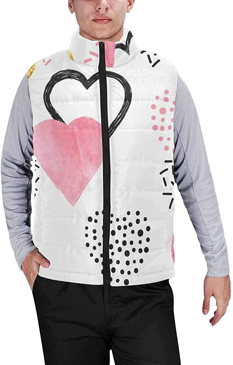 InterestPrint Men's Outdoor Casual Stand Collar Padded Vest Coats Valentines Day Gold and Pink Hearts S