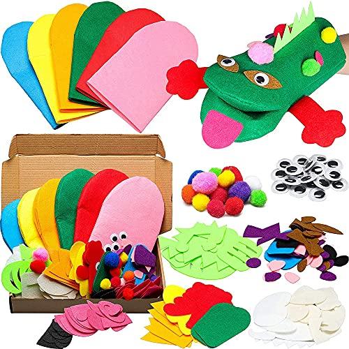 6pcs Educación Juguete Mano Marionetas Hacer Kit Arte Artesanía Fieltro Calcetín Marioneta Creativo Diy Super Kit Para Niños Tempranos