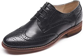 Women's Perforated Lace-up Wingtip Pure Color Leather Flat Oxfords Vintage Oxford Shoes
