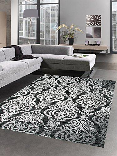 CARPETIA Moderner Teppich Wohnzimmerteppich Barock Ornamente schwarz Größe 80x150 cm
