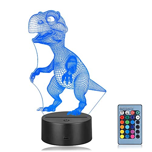 Linkax 3D LED Night Light Optical Illusion Light Illuminating Light Desk Table Light Lamp 7 Color Remote Control with Acrylic Flat & ABS Base & USB Charger (Dinosaur)