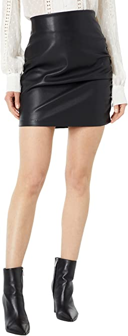 Side Ruche Faux Leather Skirt