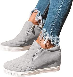 Kathemoi Womens Hidden Wedge Sneakers Slip on Snakeskin Loafers Side Zipper Walking Shoes