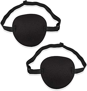 OWUDE 2 PCS Eye Patch Set for Adults and Kids, Single Eye Mask with Adjustable Buckle Soft and Comfortable Pirate Eye Patc...