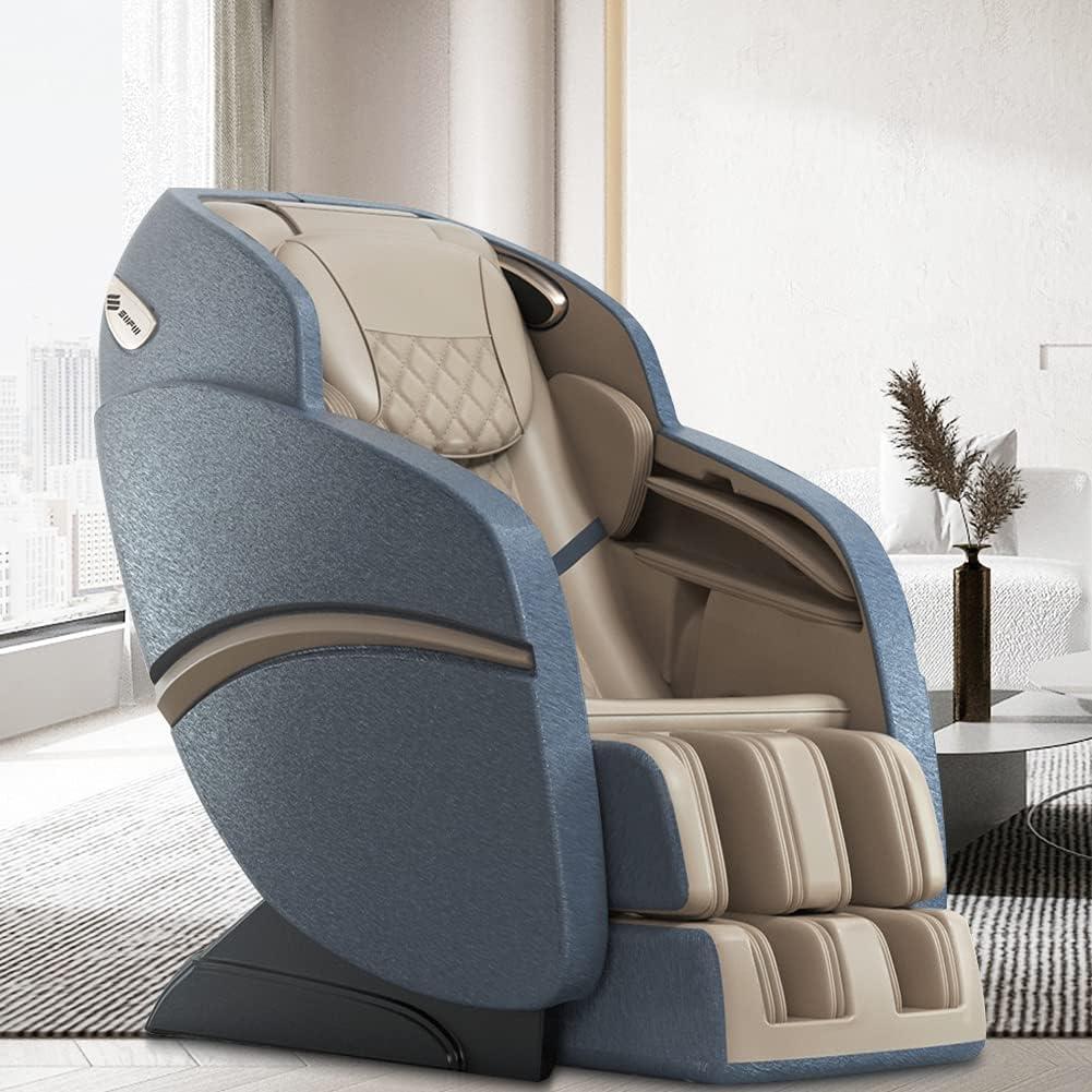 SUFUL - Sillón de masaje para cuello, espalda, piernas y pies, con raíles en forma de S y L, y con altavoz Bluetooth, modelo SUFUL-S6, beige o azul