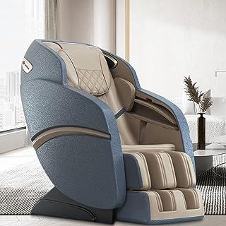 SUFUL S6 Massagestoel, nekmassage, rugmassage, beenmassage, voetmassage, S+L rail, met Bluetooth-luidspreker. (Beige blauw)