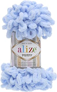 100% Micropolyester Soft Yarn Alize Puffy Hand Knitting Yarn Super Chunky Bulky Woven Worested Yarn Lot of 4skn 400gr 40yds Color 183 Light Blue