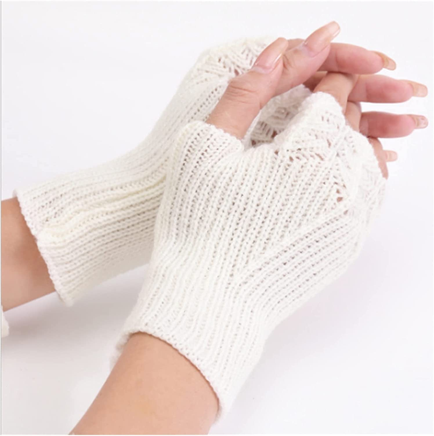 CHHNGPON Bridal Gloves Woman Ladies Fingerless Gloves Winter Warm Soft Knitted Mittens (Color : White, Gloves Size : One Size)