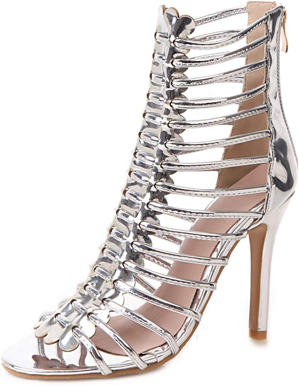 Vimisaoi Women Comfy Gladiator Sandals, Cutout Suede Plus Size Peep Toe Platform Stiletto Heels Ankle Strap Dress shoes