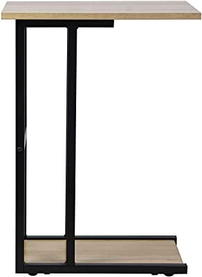 GIA C-Shape Space Saving End Table, Wooden/Black Frame